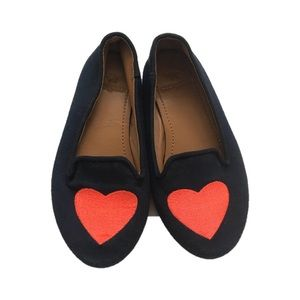 J Crew Crewcuts Kids 10 Navy Heart Loafer Fabric